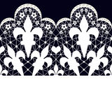 White seamless lace pattern on black. Background Royalty Free Stock Images