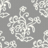 White seamless lace pattern on a gray background. Royalty Free Stock Photos
