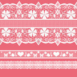 White seamless lace pattern on pink Stock Photography