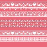 White seamless lace pattern on pink Stock Photo