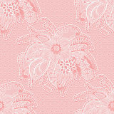 White seamless lace pattern on a pink background. Openwork fabric with large flowers and leaves. Stock Image
