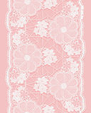 White Seamless Lace Ribbon On Pink Background. Vertical Border Of Floral Elements. Royalty Free Stock Image