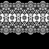 White seamless lacy lace pattern on black Royalty Free Stock Photography