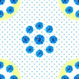 White seamless pattern with blue flowers. Watercolor cornflowers, polka dot background. stock illustration