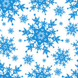White seamless pattern with blue snowflakes Stock Image