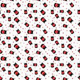 Seamless pattern with cat with heart. vector. White seamless pattern with cat with heart. vector Royalty Free Stock Photos