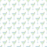 White Seamless Pattern with Martini Cocktails Stock Photography