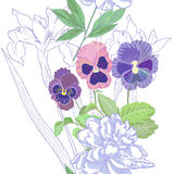 White seamless pattern  with peonies and pansy Royalty Free Stock Photography