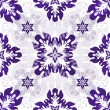 White seamless pattern with violet flowers Stock Photos