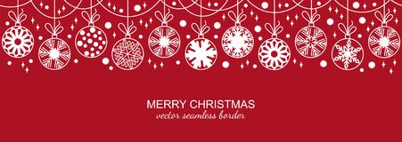 White seamless snowflake border, red background. White seamless snowflake border isolated on red background, Christmas design. Vector illustration, merry xmas Royalty Free Stock Photos