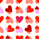 White seamless texture with hearts Stock Photos