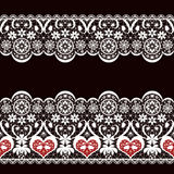 White seamless valentine lace lacy pattern texture on black Stock Photo
