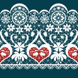 White seamless valentine lace pattern texture on blue. Background Stock Photos