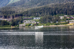 White Seaplane Landing in Juneau Stock Photos