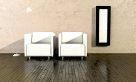 White seats for waiting room Royalty Free Stock Photos