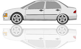 White Sedan Car with reflection. Vector illustration Royalty Free Stock Photo
