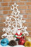 White see through Christmas tree with Santa Royalty Free Stock Photos