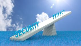 White seesaw with security on one and privacy on the other side Stock Images