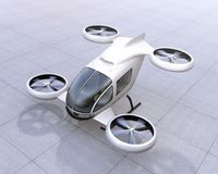 White self-driving passenger drone landing on the ground. 3D rendering image Stock Photos