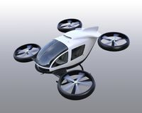 White self-driving passenger drones isolated on gray background. 3D rendering image Stock Image