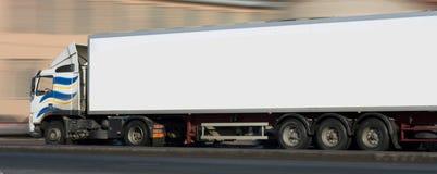 White semi tractor traile. A white semi tractor trailer truck Stock Photography