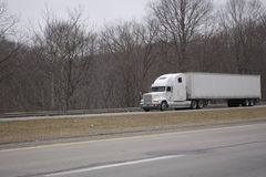 White Semi Tractor Trailer Truck Stock Image