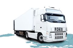 White semi truck. On map backround Royalty Free Stock Images