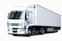 White semi truck. White truck and trailer on white backround Royalty Free Stock Photography