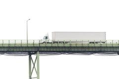 White Semi Truck Crossing Bridge Isolated on White Stock Photography
