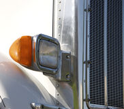 White Semi Truck Detail. White Semi Tractor Trailer Headlight & Grill Detail Stock Image