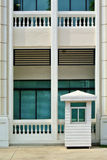 White sentry box and building. White sentry wood box and building Stock Photos