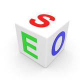 White SEO cube. Royalty Free Stock Photos