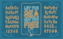 White serif font, alphabet, numbers and symbols. Retro white serif font, the Latin alphabet, numbers and symbols on blue background in frame from the ships royalty free illustration