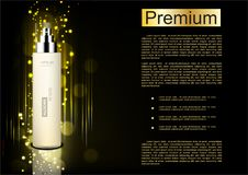 White serum with shining lights on black background.  Royalty Free Stock Photo
