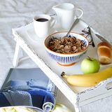 White Serving bed Tray with food - shabby chic Stock Images