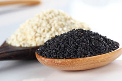 White sesame and black sesame on wooden spoon Royalty Free Stock Photography