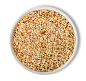 White sesame in plate isolated Stock Photography