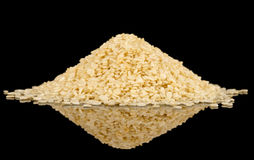 White sesame seeds on black reflective surface Stock Images