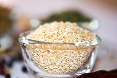 White Sesame. Seeds in Bowl royalty free stock photos