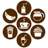 White set on brown background, icons on coffee theme, flat design, vector vector illustration
