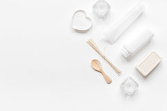 White set of cosmetics for spa on table background top view mockup Stock Image