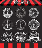 White set hookah icons, labels, signs, symbols and badges on blackboard. Shisha icons, labels, signs, symbols and badges on blackboard Royalty Free Stock Images