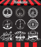 White set hookah icons, labels, signs, symbols and badges on blackboard. Shisha vintage design elements and badges set. Collection of hookah vector signs Stock Photos