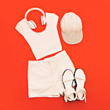 White set. White clothes and accessories Royalty Free Stock Photography