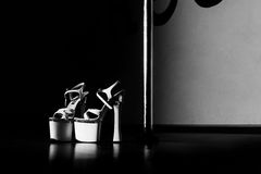 White poledance shoes. Black and white pole dance shoes stock image