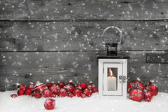 White Shabby Chic Latern For Christmas With Candle And Red Balls Royalty Free Stock Image