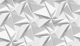 White Shaded Abstract Geometric Pattern. Origami Paper Style. 3D Rendering Background. Stock Image