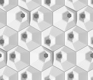 White shaded abstract geometric pattern. Origami paper style. 3D rendering background. Royalty Free Stock Image