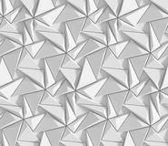White shaded abstract geometric pattern. Origami paper style. 3D rendering background. Royalty Free Stock Images