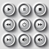 White shaded plastic button vector player set Royalty Free Stock Image